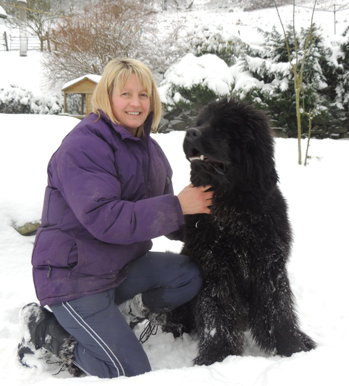 Suzanne with Pierce in the snow