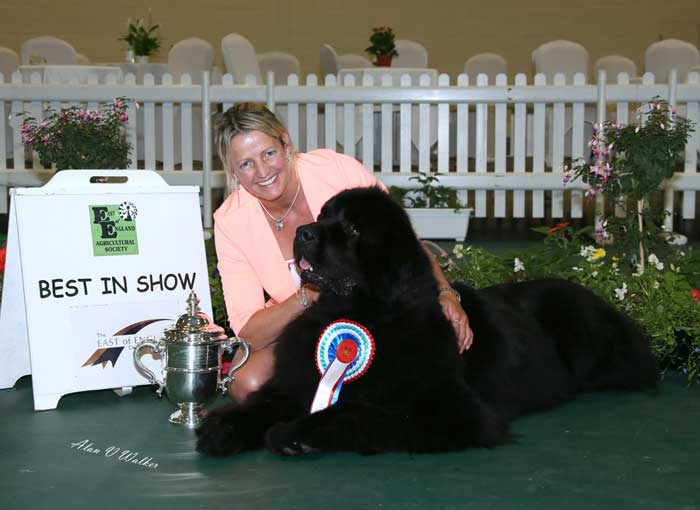 Suzanne with Ch. Sandbears Better Than Ever, JW after winning Best In Show at East of England in July 2016